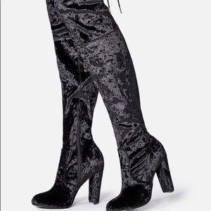 JUSTFAB | Over Knee Black Velvet Boots Philipa 8